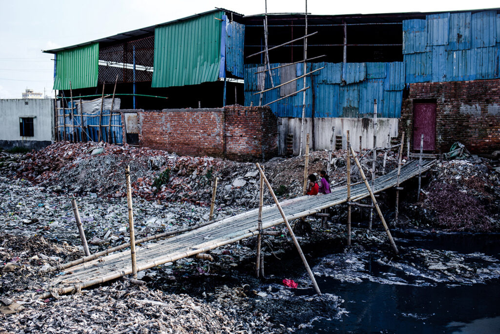 Aug. 9, 2015 - Dhaka, Bangladesh - Outside of a tannery industy full of toxic wastes which directly fall into the Burigonga river. (Photo by Mohammad Ponir Hossain/NurPhoto)
